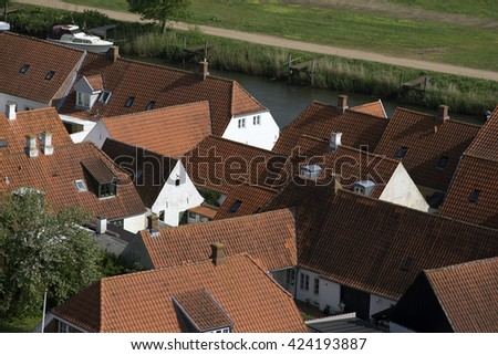 Ribe view from Cathedral Tower - old houses and courtyard gardens in Ribe, Jutland, Denmark. - stock photo