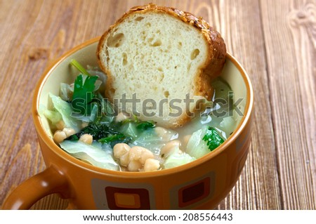 Ribollita famous Tuscan soup, a hearty potage made with bread and vegetables - stock photo
