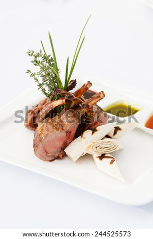 ribs with different sauce - stock photo
