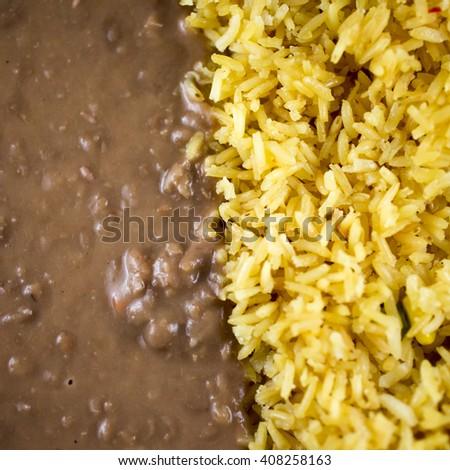 Rice and beans closeup - stock photo