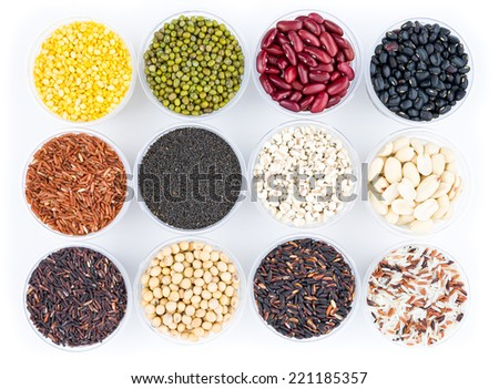 rice and beans collection isolated on white background. - stock photo