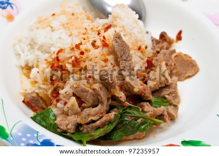 rice and curry (Fried pork with chili paste ) thailand - stock photo