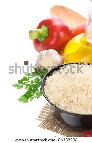 rice and food ingredient vegetable isolated on white background - stock photo