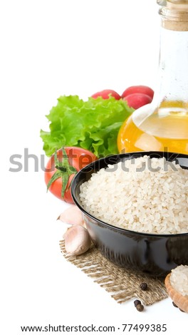 rice and nutrition food isolated on white background - stock photo