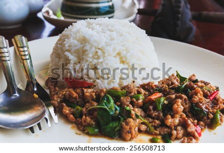 Rice and Pork fried with holy basil, Thai style food, soft focus. - stock photo