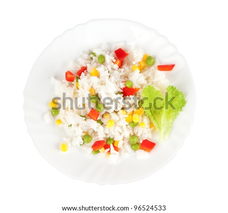 Rice and vegetables on a plate over white background - stock photo