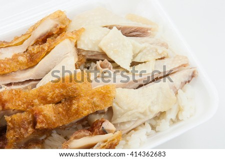 rice Chicken and rice Fried Chicken on foam box , thai Food style - stock photo
