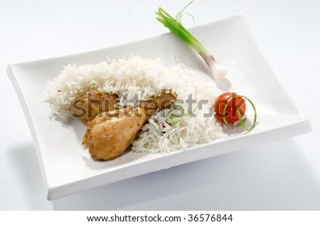Rice & Chicken in White Dish - stock photo