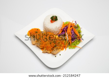 Rice, grilled fish - stock photo