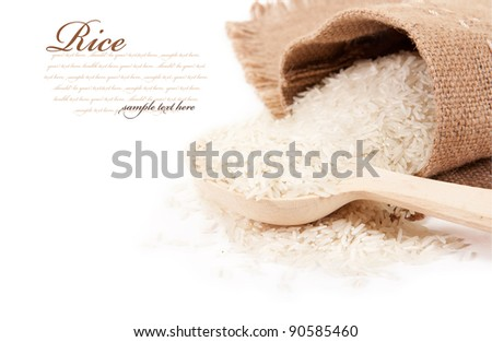 Rice in a bag with a wooden spoon - stock photo