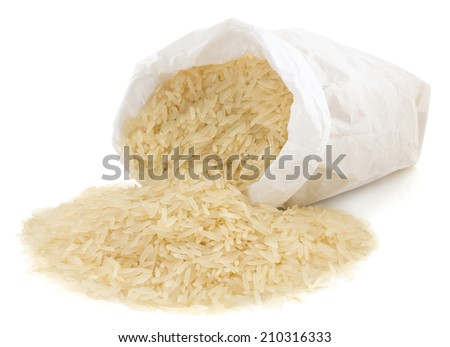 rice in paper bag isolated on white background - stock photo