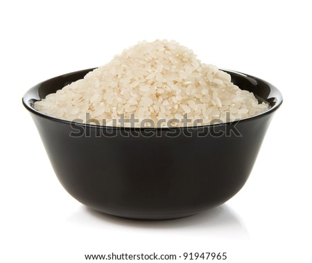rice in plate bowl isolated on white background - stock photo