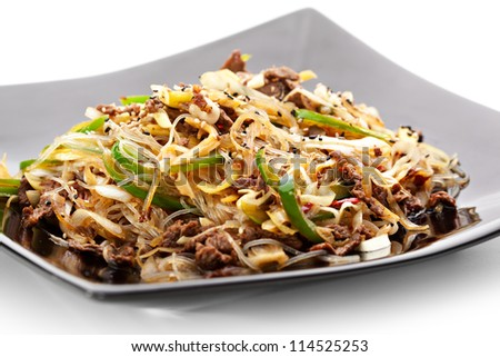 Rice Noodles with Fried Beef and Vegetables - stock photo