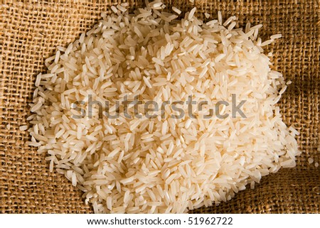 rice on a sack - stock photo