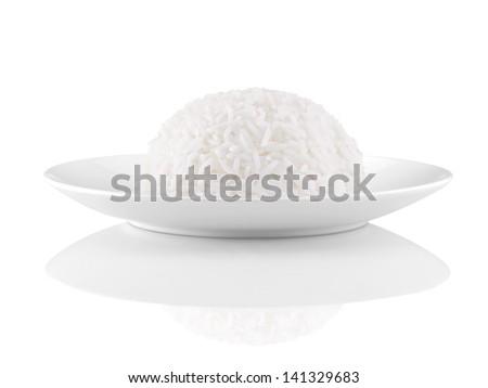 Rice on White Background - stock photo