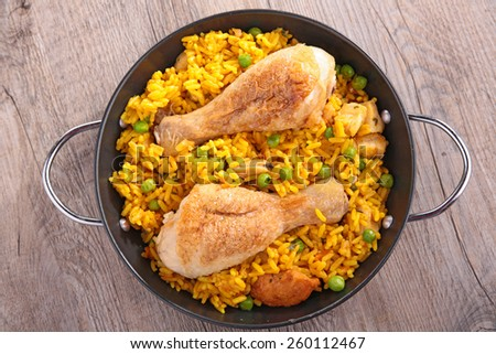 rice,pea and chicken - stock photo