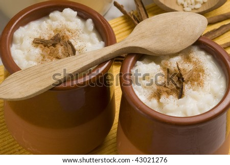 Rice pudding in a ceramic bowl with lemon and grated cinnamon. Selective focus. Arroz con leche. - stock photo