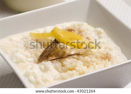 Rice pudding in a white bowl with lemon and grated cinnamon. Selective focus. Arroz con leche. - stock photo