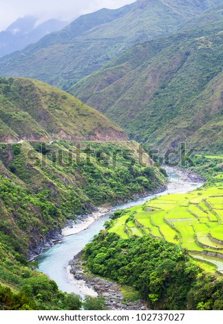 Rice terrace in Cordillera mountains, Luzon, Philippines - stock photo