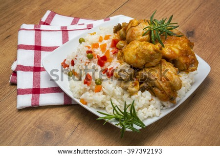 Rice whit poultry - stock photo