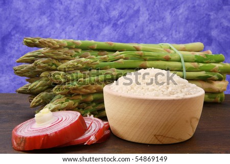 rice with asparagus - stock photo