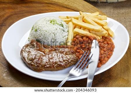 Rice with beans and meat - stock photo