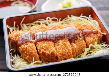 rice with breaded pork cutlet,katsujyu japanese food - stock photo