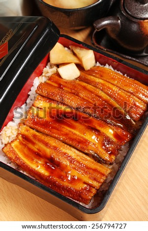 Rice with grilled and flavored eel - stock photo