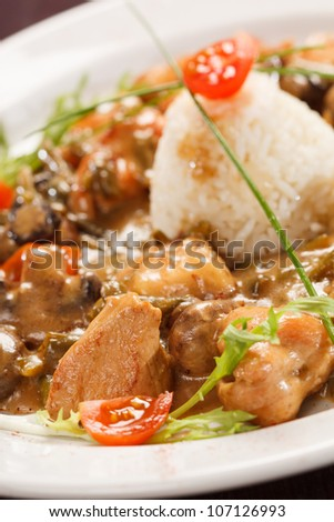 rice with mushrooms and vegetables - stock photo