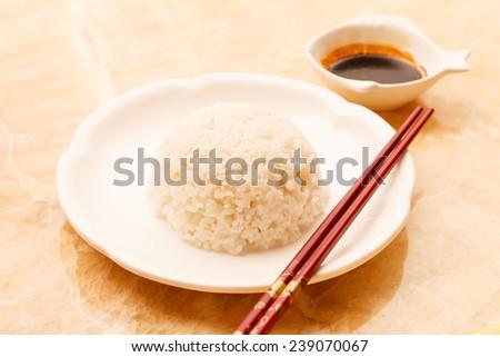 rice with sou sauce - stock photo