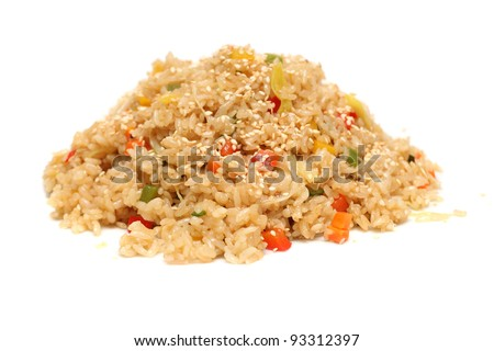 Rice with vegetables - asian food - stock photo