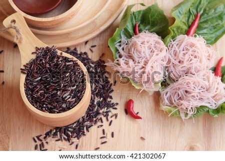 riceberry rice with rice noodle - stock photo
