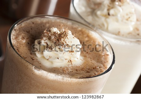 Rich and Creamy Chocolate Milkshake with whipped cream - stock photo