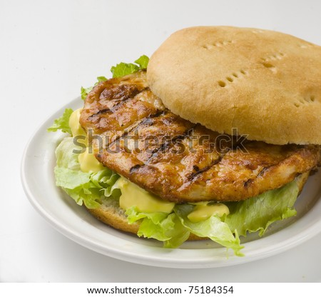 rich and fresh chicken burger with lettuce and mayonnaise - stock photo