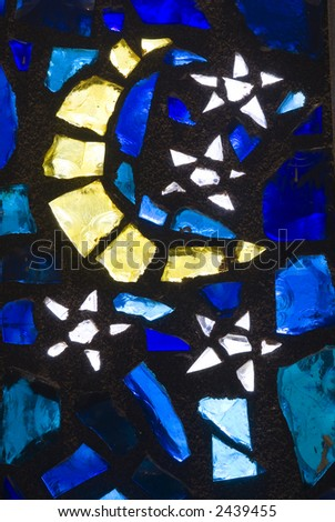 Rich colored stain glass panels background 02 - stock photo