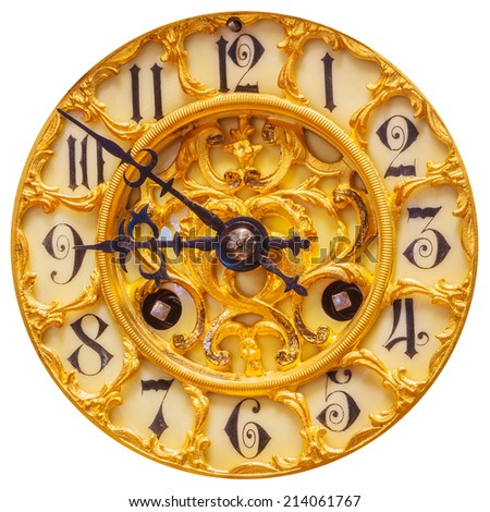 Rich decorated ancient golden clock face isolated on a white background - stock photo