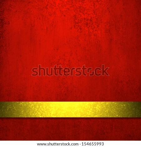 rich deep red background with elegant faded grunge background texture, luxury style, holiday gold ribbon stripe for red luxury Christmas background decoration web template design or brochure layout  - stock photo