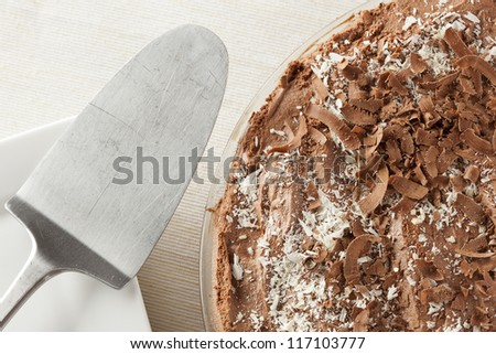 Rich Homemade Chocolate Pie against a background - stock photo