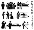 Rich People High Society Expensive Lifestyle Activity Stick Figure Pictogram Icon Cliparts - stock photo