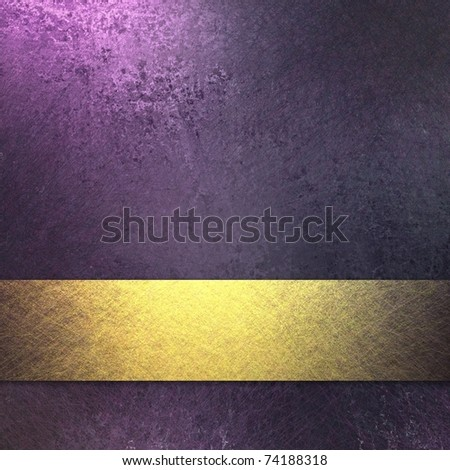 rich royal purple background with dark grunge texture and soft highlight, bright gold ribbon accent stripe, graphic art design layout, and copy space - stock photo