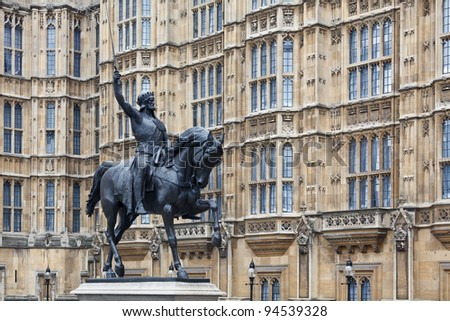 Richard the Lionheart - statue in front of Westminster Palace, London, UK - stock photo