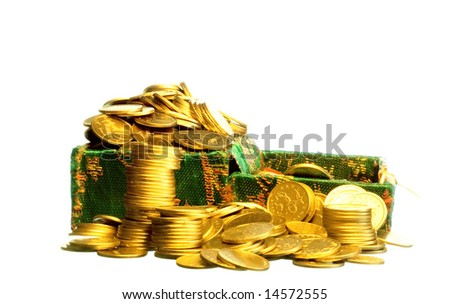 Riches, gold coins in a chest - stock photo