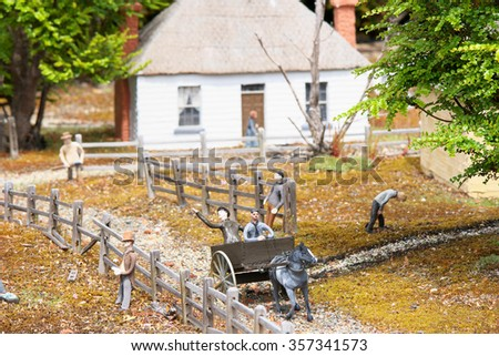 """RICHMOND, AUSTRALIA - NOVEMBER 10: Scene from  architecturally accurate """"Old Hobart Town"""" miniature model historic village November 10, 2015 in Richmond, Australia - stock photo"""