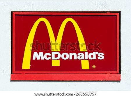 RICHMOND HILL  - APR 1: McDonalds sign and logo on a red board, photographed on Apr 11, 2015 - stock photo