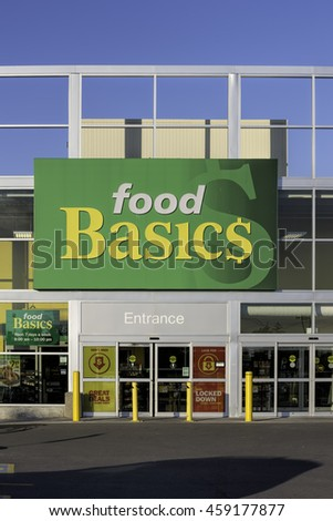 Richmond Hill, Ontario - July 26, 2016: Food Basics is a discount supermarket chain owned by Metro Inc. The company operates over 115 stores throughout Ontario. - stock photo
