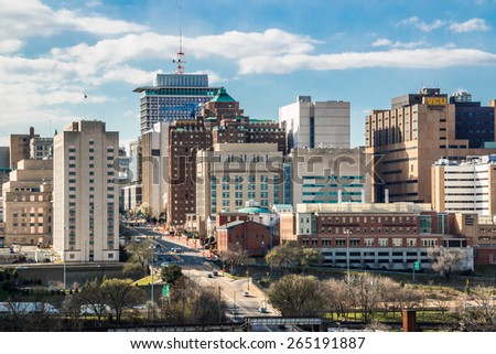 RICHMOND, VIRGINA - MARCH 28, 2015: Downtown Richmond, Virginia during late winter afternoon. - stock photo