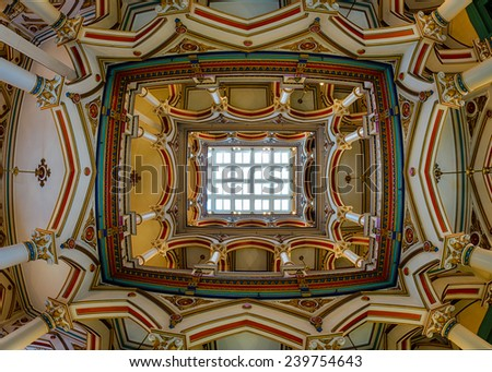 RICHMOND, VIRGINIA - DECEMBER 15: Ornate ceiling of the Old City Hall on December 15, 2014 in Richmond, Virginia - stock photo
