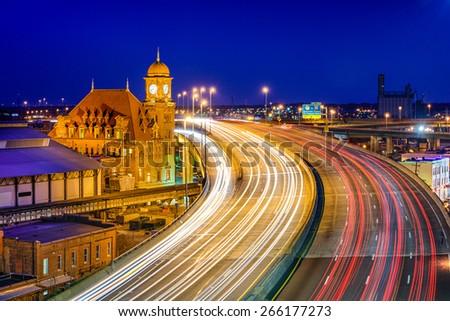 Richmond, Virginia, USA at historic Main Street Station and Interstate 95. - stock photo