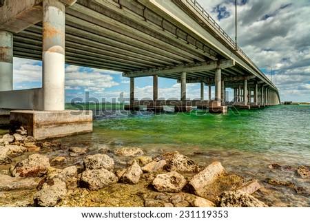 Rickenbacker Causeway Bridge that connects Miami to Key Biscayne and Virginia Key. - stock photo