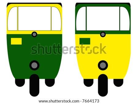 rickshaws front view - stock photo